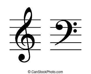 Un juego de notas musicales en una anotación de cinco líneas ...