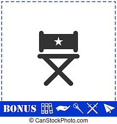 Vector de silla de camping icono plano. Vector de icono de
