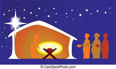 Die geburt des jesus. Weihnachtskarte mit der geburt jesu ...