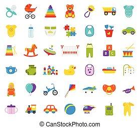 Babyspielzeug Isoliert Vektor Set Kinder Spielzeug