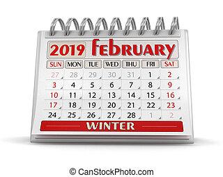 -, (clipping, 2019, included), febrero, calendario, ...