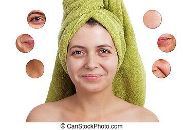 -closeup, 概念, 美しさ, 隔離された, 女性, 皮膚, 顔
