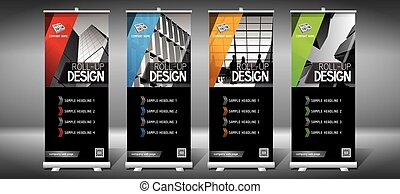 -, cm), plantillas, roll-up, moderno, edificios, (85x200, ...