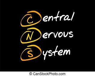 -, cns, system, mellerst, nervös, akronym