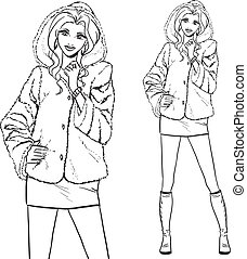 -, coat., femme, fourrure, série