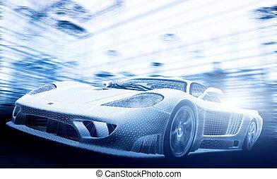 -, coche, cianotipo, industry., concepto, futuro, wireframe., modelo, ecología, tecnología