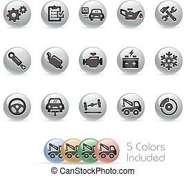 -, coche, redondo, servicio, iconos, metal