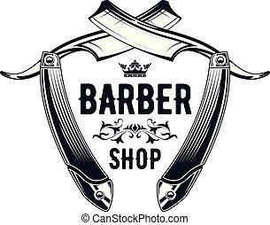 -, coiffeur, salon coiffure, logo, vieux, emblème, vendange, magasin, rasoir, directement