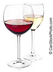 -, colección, blanco, anteojos, vino rojo