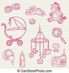 -, colección, mano, vector, doodles, bebé, dibujado