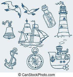 -, colección, mano, vector, náutico, dibujado, doodles