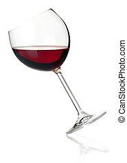-, colección, vidrio, caer, vino rojo