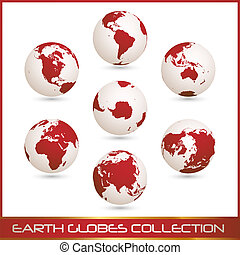 -, colection, globes, la terre, blanc rouge