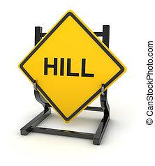 -, colline, panneaux signalisations