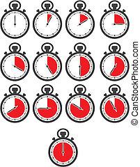 -, color, reloj de parada, conjuntos, rojo, icono