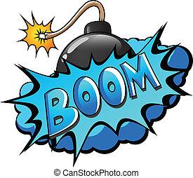 -, comico, scoppio, espressione, boom