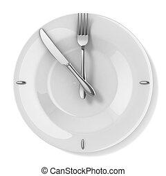 -, comida, tiempo, 3d, comida, concepto
