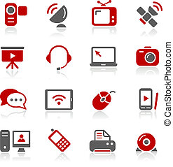 --, communication, redico, icônes, serie