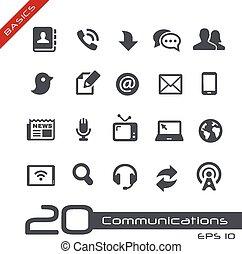 --, communications, ensemble, élémentsessentiels, icône