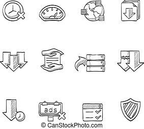 -, compartir, iconos, bosquejo, archivo