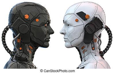 -, competición, robot, 3d, hembra, interpretación, mujer, ...