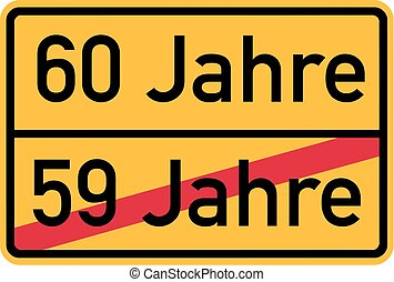 -, compleanno, tedesco, 60th, roadsign