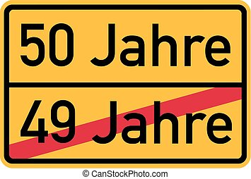 -, compleanno, tedesco, roadsign, 50th