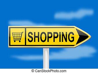-, compras, amarillo, flecha, direccional