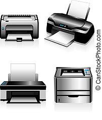-, computadora, impresoras láser
