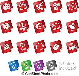 --, comunicación, pegatinas, iconos