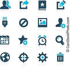 --, comunicazione, azzurro, icone