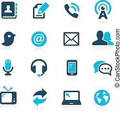--, comunicazioni, icone, azzurro, serie