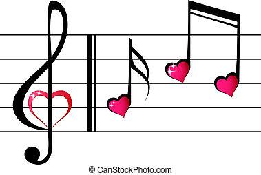 -, concept, amour, musique