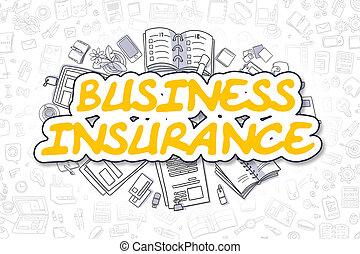 -, concept., assurance commerciale, griffonnage, jaune, word.