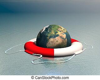 -, concept, image, 3d, planète, bouée, océan, flotter, la terre, render, sauver