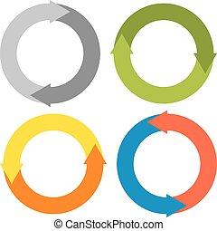 -, confection, cercles, isolé, ensemble, flèches, coloré, 4, cercle, 2