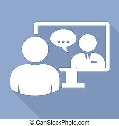 -, conferenza, persone affari, video