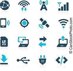 --, connectivité, azur, icônes