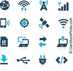 --, connettività, azzurro, icone