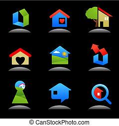 -, construção, propriedade, logotipos, real, /, ícones, 7