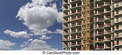 -construction, construction, image, résidentiel, industriel, bâtiments, site., multi-storey