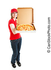 -, corps, girl, photo, pizza, stockage, livraison, entiers