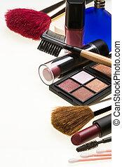 -, cosméticos, maquiagem