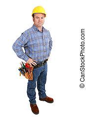 -, costruzione, serio, lavoratore, reale
