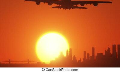 -, coucher soleil avion, hd