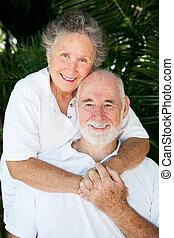-, couple, encore, amour, personne agee