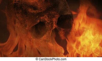 -, crâne, guerre, brûlé, concept, fantasme, brûler