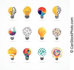 -, créatif, ampoule, icônes, technologie, idée, lumière