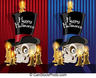 -, cranio, terribile, halloween, felice, cilindro, bandiera