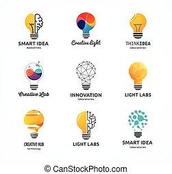 -, creatief, bol, iconen, technologie, idee, licht